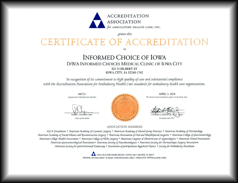 AAAHC IC CERTIFICATE SM
